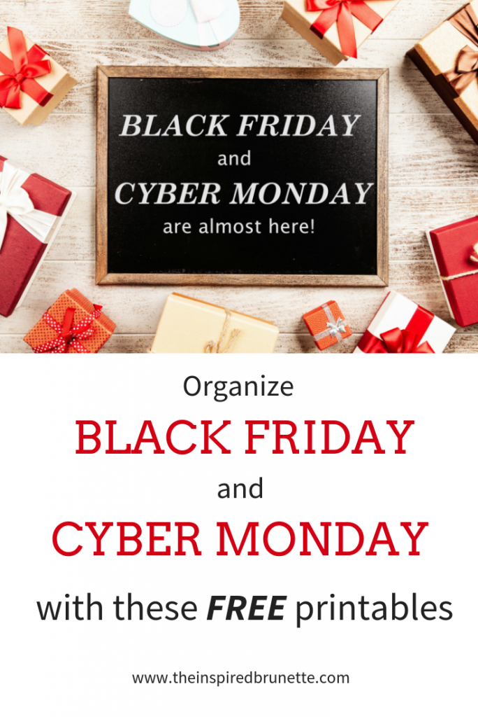 Black Friday and Cyber Monday printables