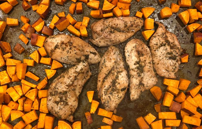 Looking for an easy weeknight meal? Then this one pan maple glazed chicken and sweet potato recipe is the perfect solution!