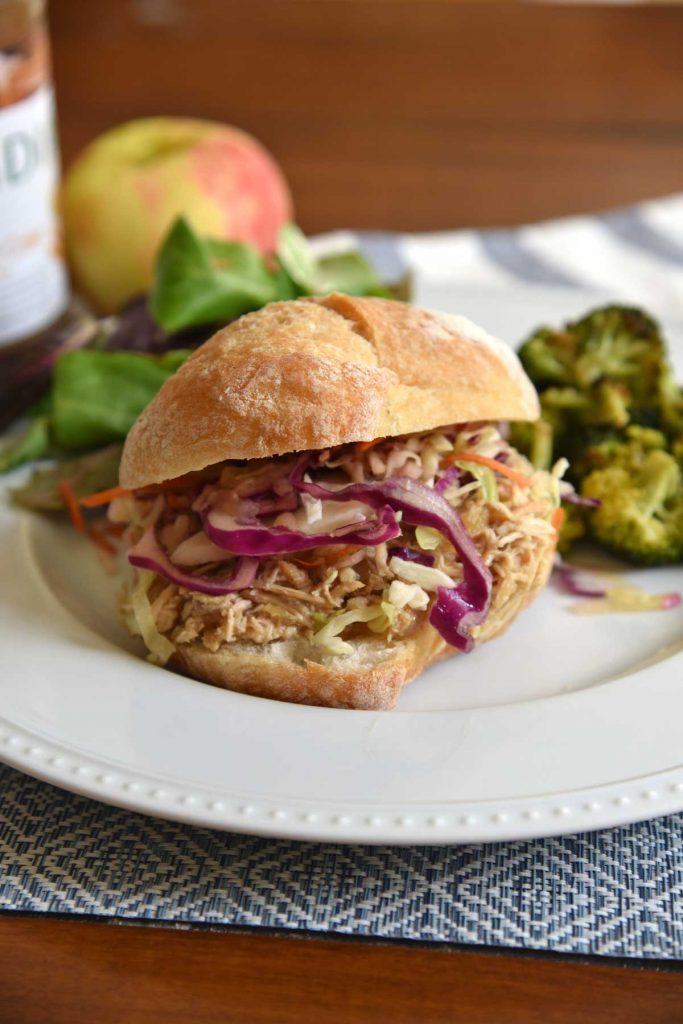 slow cooker apple cider chicken sandwich